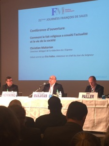 De gauche à droite : Christophe Henning (Pèlerin) ; Christian Makarian (L'Express) ; Eric Paillet (Le Jour du Seigneur)